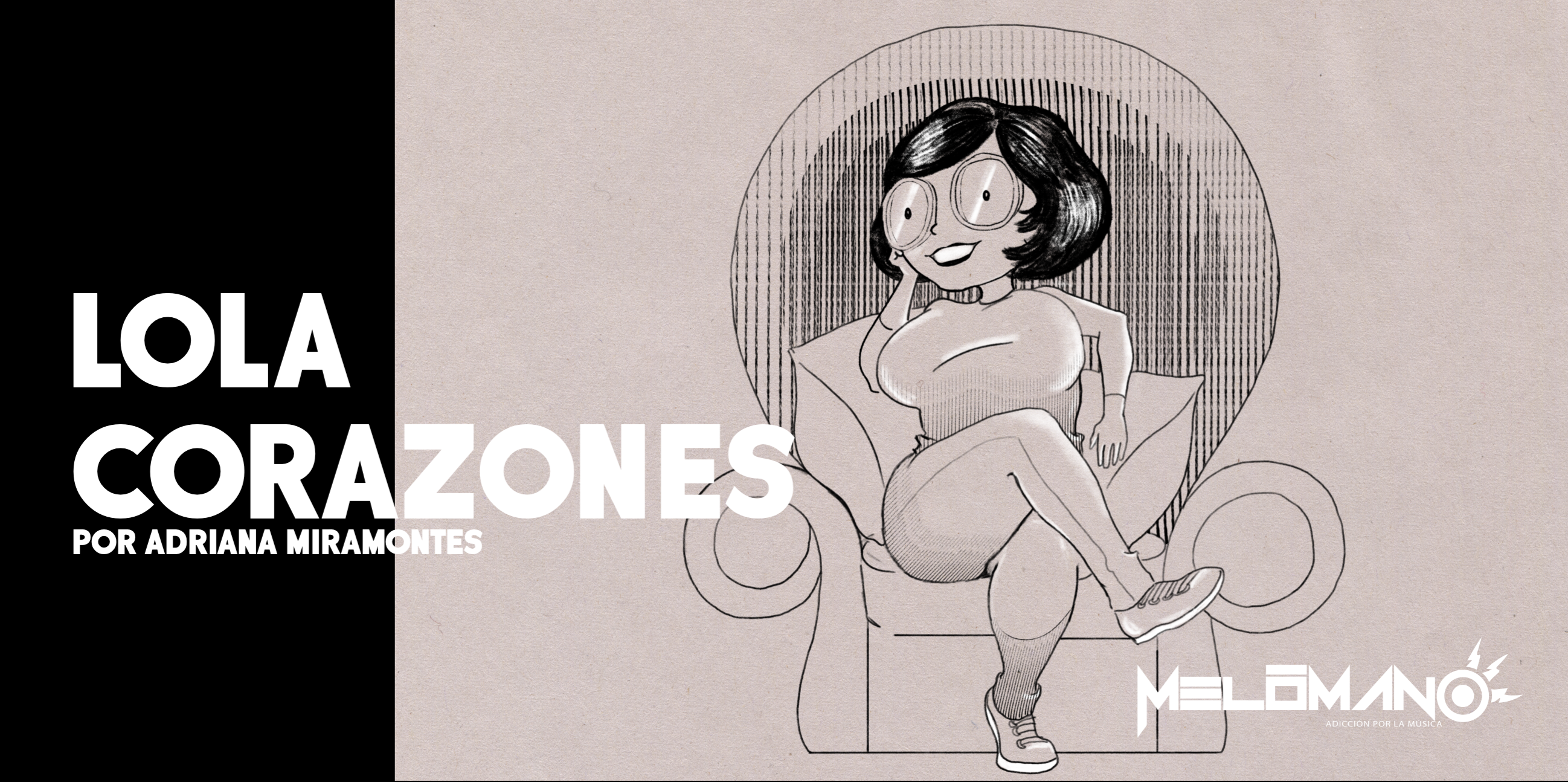 Lola Corazones sentada en un sillón