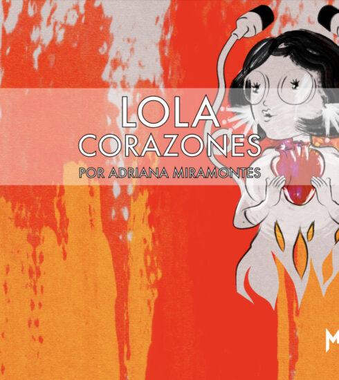 Lola Corazónes con el corazón en la mano en las llamas del purgatorio auditivo